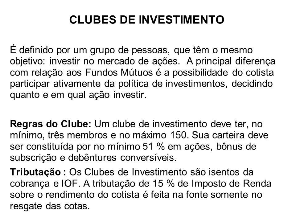 CLUBES DE INVESTIMENTO É definido por um grupo de pessoas, que têm o mesmo objetivo: investir no mercado de ações. A principal diferença com relação a