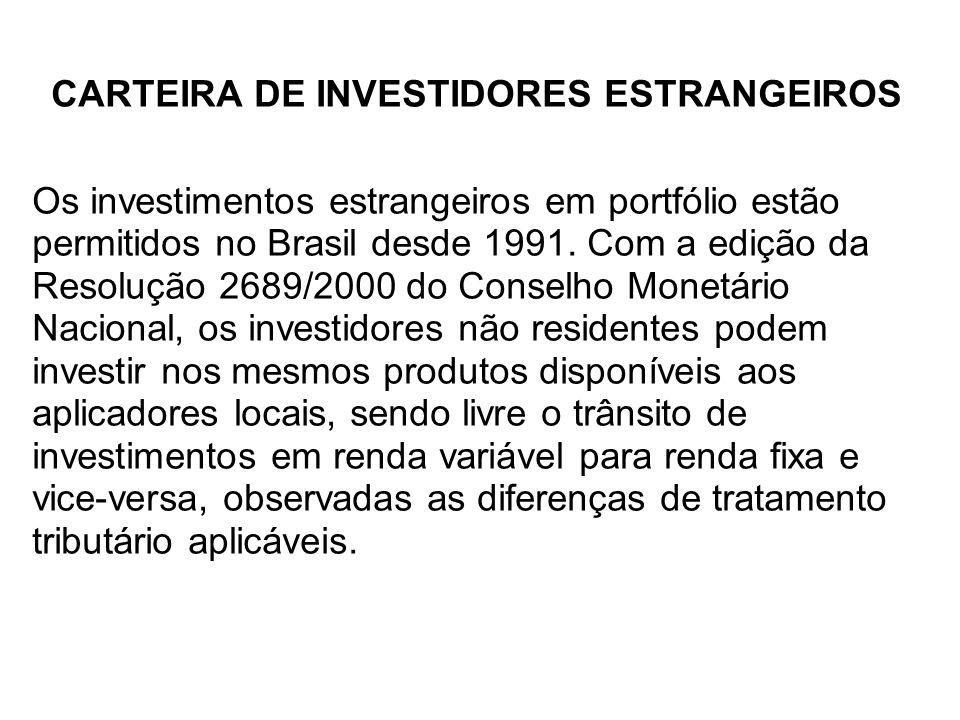 CARTEIRA DE INVESTIDORES ESTRANGEIROS Os investimentos estrangeiros em portfólio estão permitidos no Brasil desde 1991. Com a edição da Resolução 2689