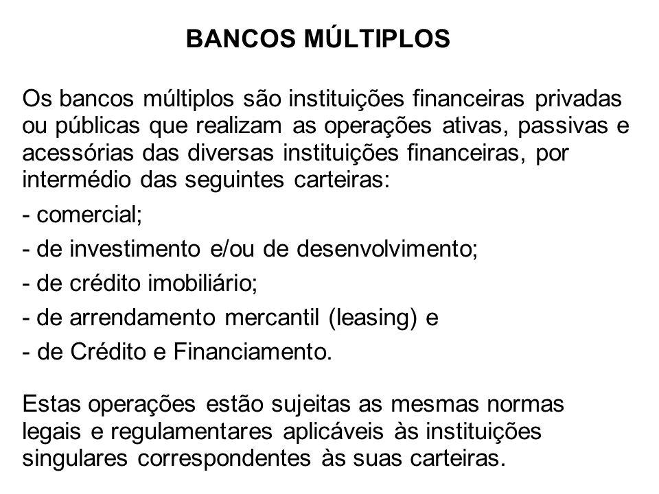 BANCOS MÚLTIPLOS Os bancos múltiplos são instituições financeiras privadas ou públicas que realizam as operações ativas, passivas e acessórias das div