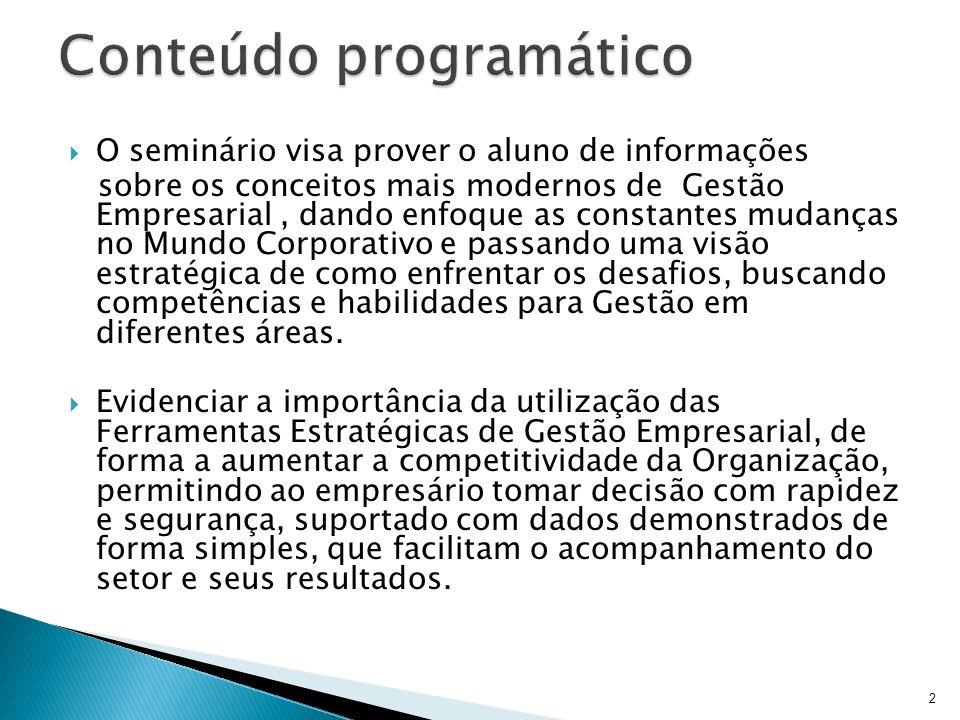 O seminário visa prover o aluno de informações sobre os conceitos mais modernos de Gestão Empresarial, dando enfoque as constantes mudanças no Mundo C