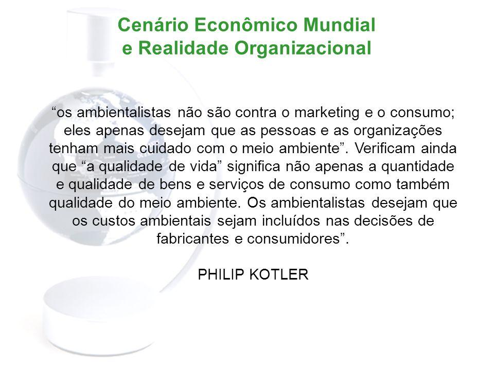 Cenário Econômico Mundial e Realidade Organizacional Os impactos ambientais resultantes da relação homem-natureza e a busca de soluções para os problemas que surgiram dessa relação, desencadearam a base teórica da sustentabilidade.