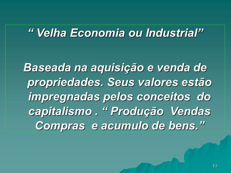 13 Velha Economia ou Industrial Velha Economia ou Industrial Baseada na aquisição e venda de propriedades. Seus valores estão impregnadas pelos concei