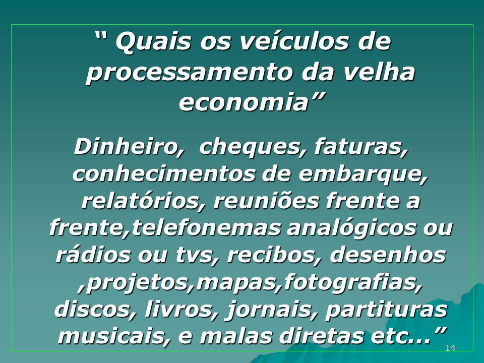 14 Quais os veículos de processamento da velha economia Quais os veículos de processamento da velha economia Dinheiro, cheques, faturas, conhecimentos