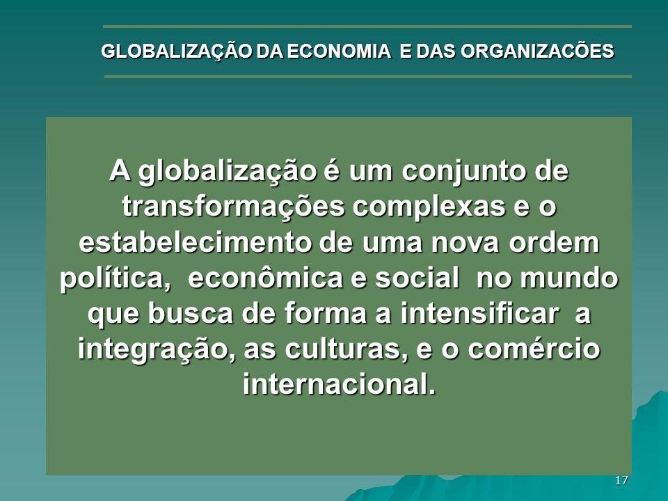 17 GLOBALIZAÇÃO DA ECONOMIA E DAS ORGANIZACÕES A globalização é um conjunto de transformações complexas e o estabelecimento de uma nova ordem política