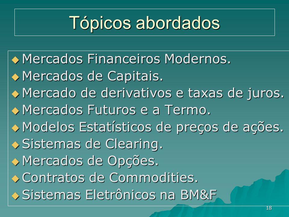 18 Tópicos abordados Mercados Financeiros Modernos. Mercados Financeiros Modernos. Mercados de Capitais. Mercados de Capitais. Mercado de derivativos