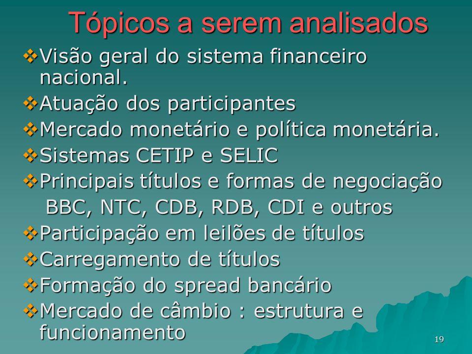 19 Tópicos a serem analisados Visão geral do sistema financeiro nacional. Visão geral do sistema financeiro nacional. Atuação dos participantes Atuaçã