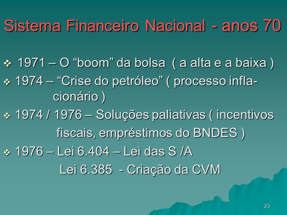 23 Sistema Financeiro Nacional - anos 70 Sistema Financeiro Nacional - anos 70 1971 – O boom da bolsa ( a alta e a baixa ) 1971 – O boom da bolsa ( a