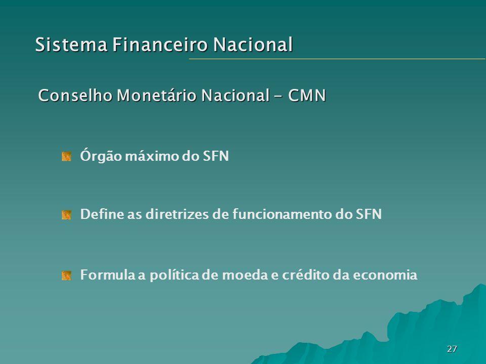 27 Sistema Financeiro Nacional Conselho Monetário Nacional - CMN Órgão máximo do SFN Define as diretrizes de funcionamento do SFN Formula a política d