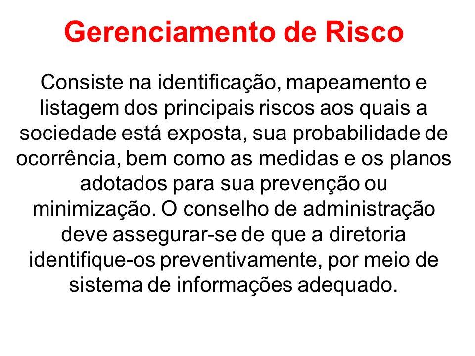Gerenciamento de Risco Consiste na identificação, mapeamento e listagem dos principais riscos aos quais a sociedade está exposta, sua probabilidade de