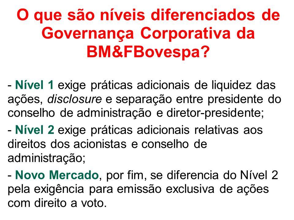 O que são níveis diferenciados de Governança Corporativa da BM&FBovespa? - Nível 1 exige práticas adicionais de liquidez das ações, disclosure e separ