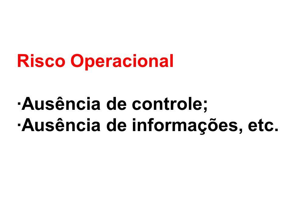 Risco Operacional ·Ausência de controle; ·Ausência de informações, etc.