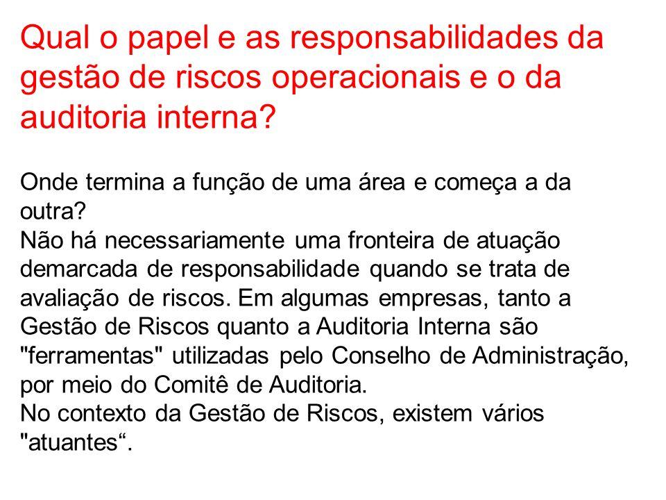 Qual o papel e as responsabilidades da gestão de riscos operacionais e o da auditoria interna? Onde termina a função de uma área e começa a da outra?