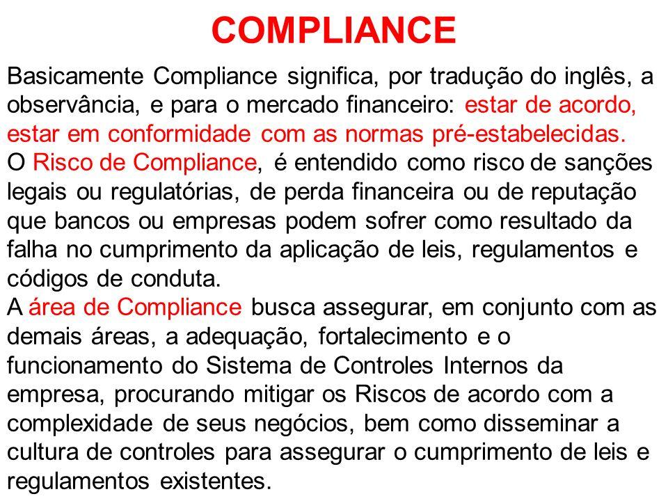 COMPLIANCE Basicamente Compliance significa, por tradução do inglês, a observância, e para o mercado financeiro: estar de acordo, estar em conformidad