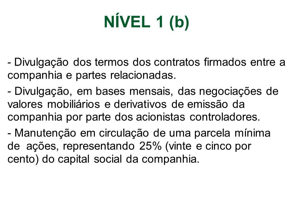 NÍVEL 1 (b) - Divulgação dos termos dos contratos firmados entre a companhia e partes relacionadas. - Divulgação, em bases mensais, das negociações de