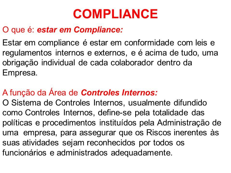 COMPLIANCE O que é: estar em Compliance: Estar em compliance é estar em conformidade com leis e regulamentos internos e externos, e é acima de tudo, u