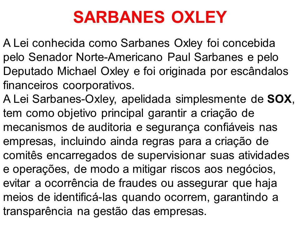 SARBANES OXLEY A Lei conhecida como Sarbanes Oxley foi concebida pelo Senador Norte-Americano Paul Sarbanes e pelo Deputado Michael Oxley e foi origin
