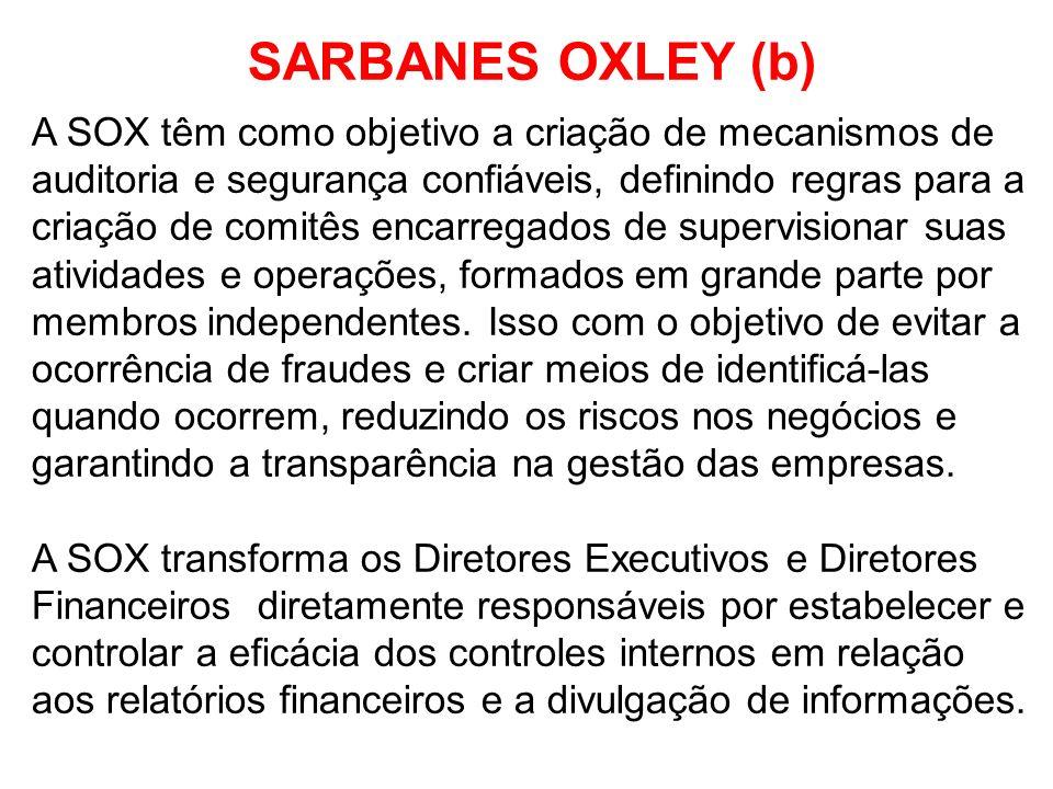 SARBANES OXLEY (b) A SOX têm como objetivo a criação de mecanismos de auditoria e segurança confiáveis, definindo regras para a criação de comitês enc
