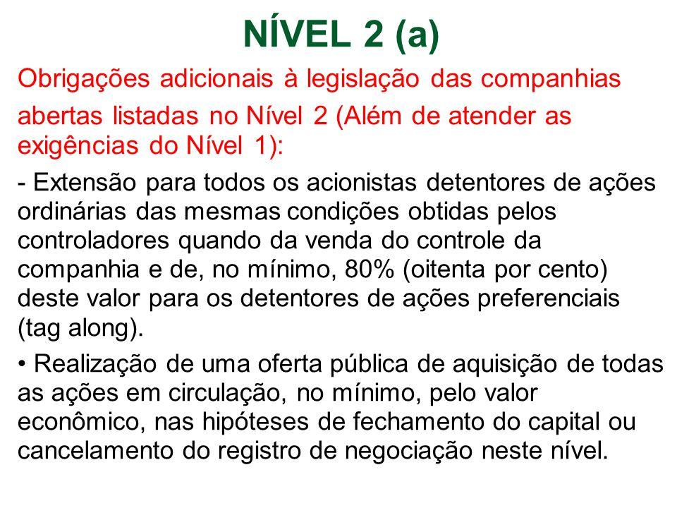 NÍVEL 2 (a) Obrigações adicionais à legislação das companhias abertas listadas no Nível 2 (Além de atender as exigências do Nível 1): - Extensão para