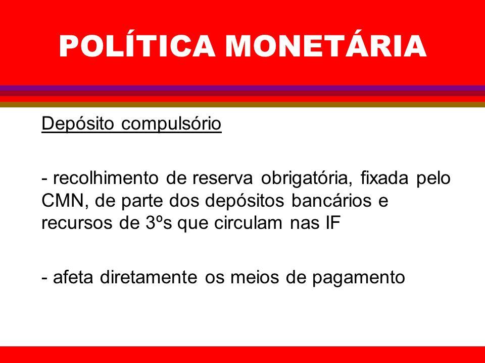 POLÍTICA MONETÁRIA Depósito compulsório - recolhimento de reserva obrigatória, fixada pelo CMN, de parte dos depósitos bancários e recursos de 3ºs que