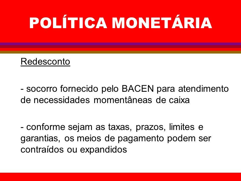 POLÍTICA MONETÁRIA Redesconto - socorro fornecido pelo BACEN para atendimento de necessidades momentâneas de caixa - conforme sejam as taxas, prazos,