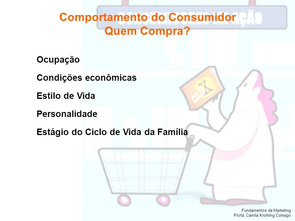 Fundamentos de Marketing Profa. Camila Krohling Colnago Comportamento do Consumidor Quem Compra? Ocupação Condições econômicas Estilo de Vida Personal