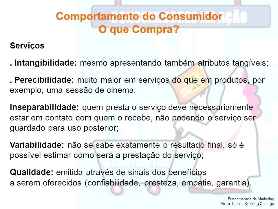 Fundamentos de Marketing Profa. Camila Krohling Colnago Comportamento do Consumidor O que Compra? Serviços. Intangibilidade: mesmo apresentando também