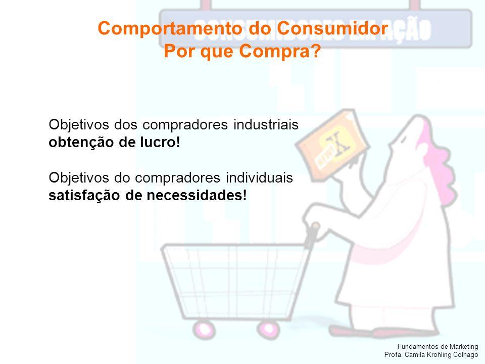 Fundamentos de Marketing Profa. Camila Krohling Colnago Comportamento do Consumidor Por que Compra? Objetivos dos compradores industriais obtenção de