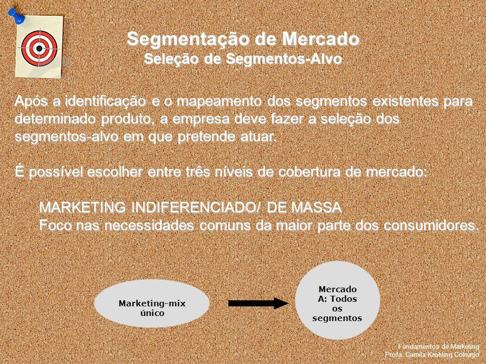 Fundamentos de Marketing Profa. Camila Krohling Colnago Segmentação de Mercado Seleção de Segmentos-Alvo Fundamentos de Marketing Profa. Camila Krohli