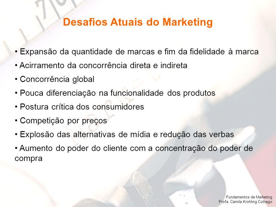 Fundamentos de Marketing Profa. Camila Krohling Colnago Expansão da quantidade de marcas e fim da fidelidade à marca Acirramento da concorrência diret
