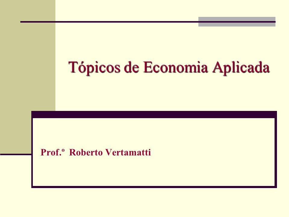 Tópicos de Economia Aplicada Prof.º Roberto Vertamatti