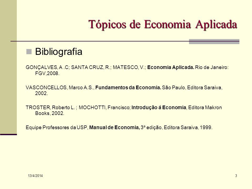 13/4/2014 3 Tópicos de Economia Aplicada Bibliografia GONÇALVES, A.C; SANTA CRUZ, R.; MATESCO, V.; Economia Aplicada. Rio de Janeiro: FGV,2008. VASCON