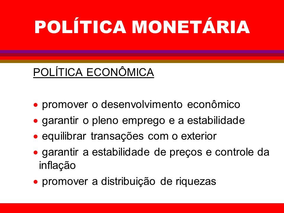 POLÍTICA MONETÁRIA POLÍTICA ECONÔMICA promover o desenvolvimento econômico garantir o pleno emprego e a estabilidade equilibrar transações com o exter