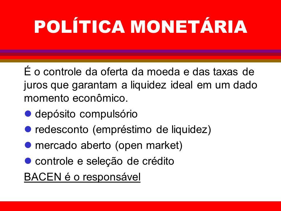 POLÍTICA MONETÁRIA É o controle da oferta da moeda e das taxas de juros que garantam a liquidez ideal em um dado momento econômico. l depósito compuls