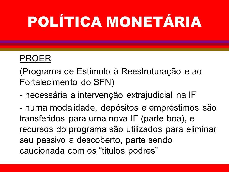 POLÍTICA MONETÁRIA PROER (Programa de Estímulo à Reestruturação e ao Fortalecimento do SFN) - necessária a intervenção extrajudicial na IF - numa moda