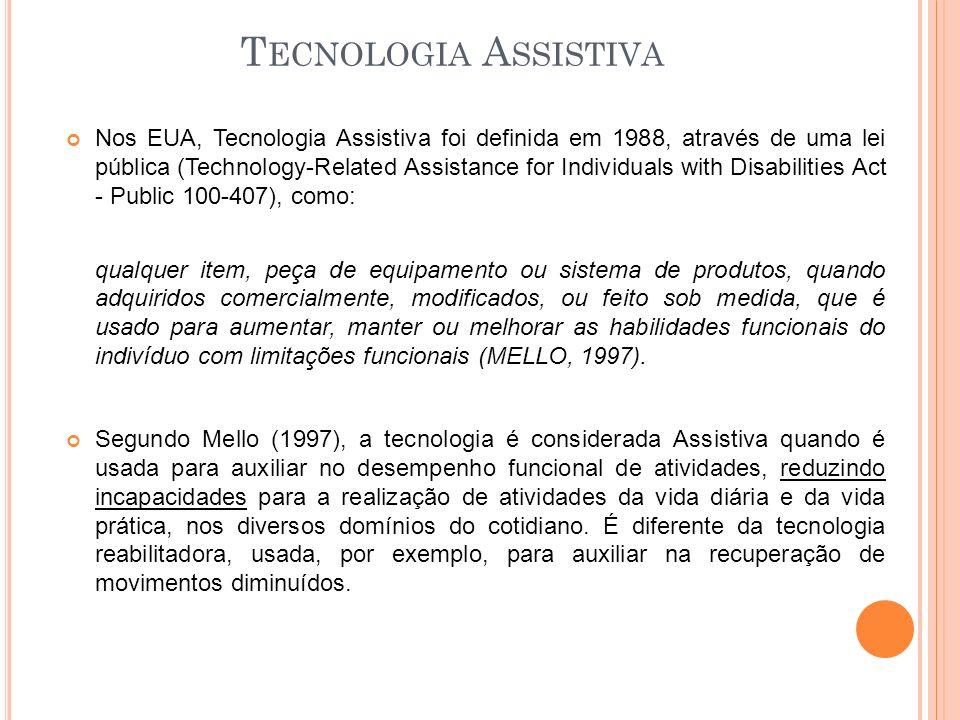 T ECNOLOGIA A SSISTIVA Nos EUA, Tecnologia Assistiva foi definida em 1988, através de uma lei pública (Technology-Related Assistance for Individuals w