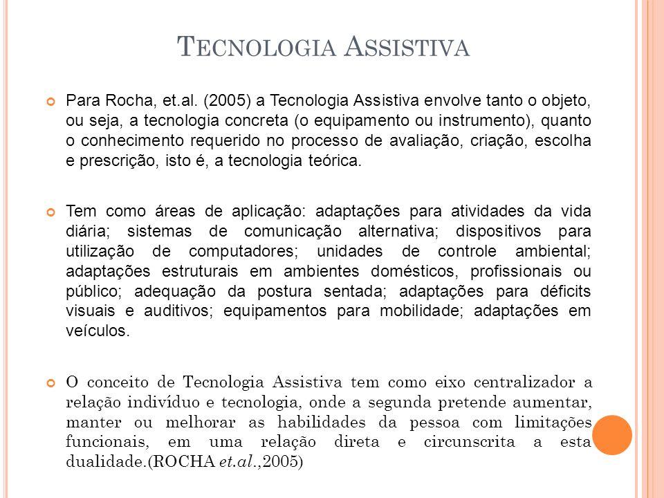 T ECNOLOGIA A SSISTIVA Para Rocha, et.al. (2005) a Tecnologia Assistiva envolve tanto o objeto, ou seja, a tecnologia concreta (o equipamento ou instr