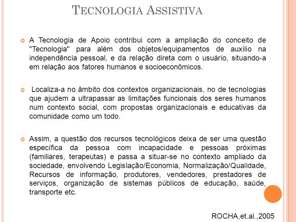 T ECNOLOGIA A SSISTIVA A Tecnologia de Apoio contribui com a ampliação do conceito de