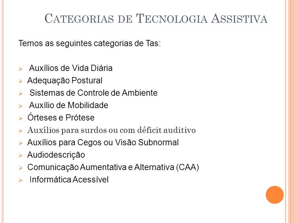 C ATEGORIAS DE T ECNOLOGIA A SSISTIVA Temos as seguintes categorias de Tas: Auxílios de Vida Diária Adequação Postural Sistemas de Controle de Ambient