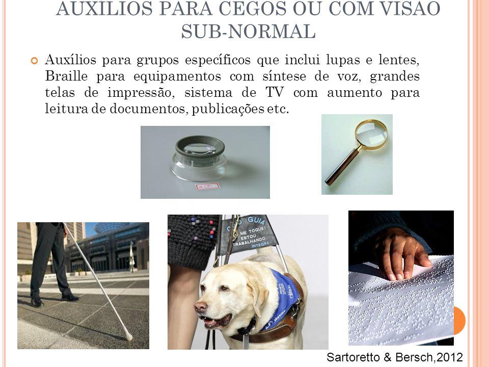 Auxílios para grupos específicos que inclui lupas e lentes, Braille para equipamentos com síntese de voz, grandes telas de impressão, sistema de TV co