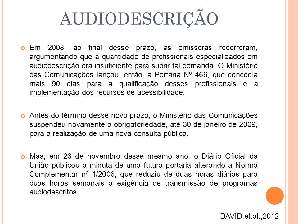 Em 2008, ao final desse prazo, as emissoras recorreram, argumentando que a quantidade de profissionais especializados em audiodescrição era insuficien