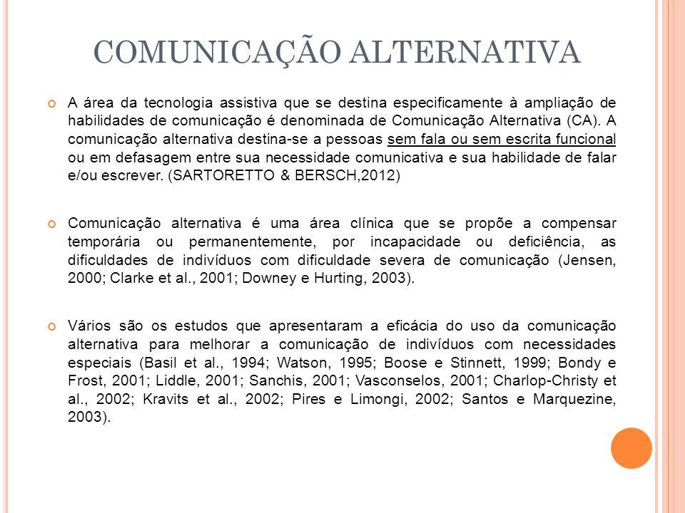 A área da tecnologia assistiva que se destina especificamente à ampliação de habilidades de comunicação é denominada de Comunicação Alternativa (CA).