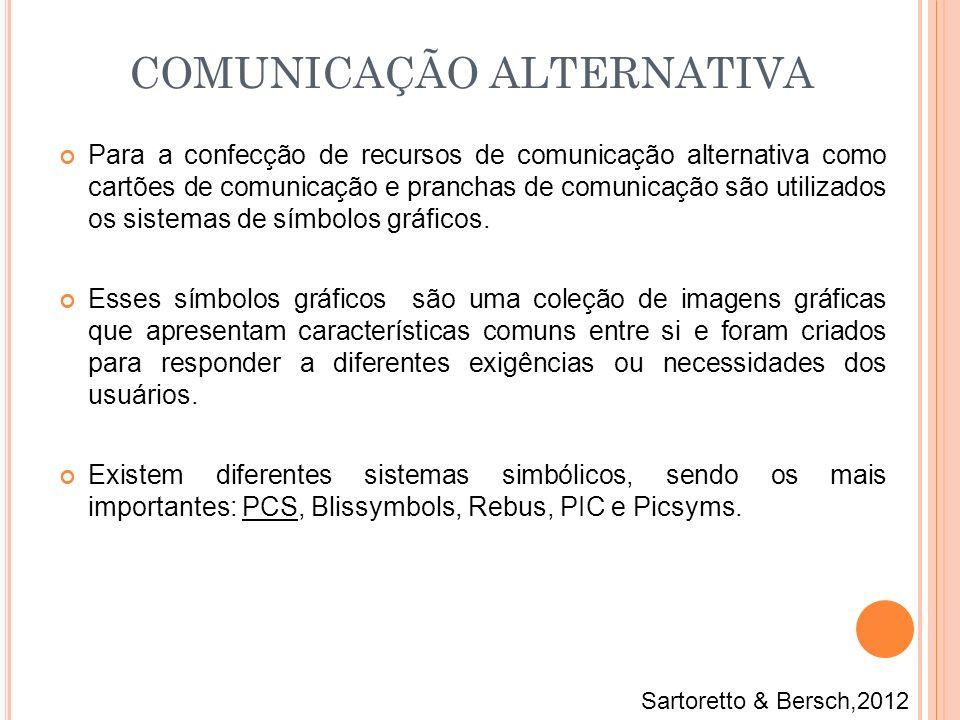 Para a confecção de recursos de comunicação alternativa como cartões de comunicação e pranchas de comunicação são utilizados os sistemas de símbolos g