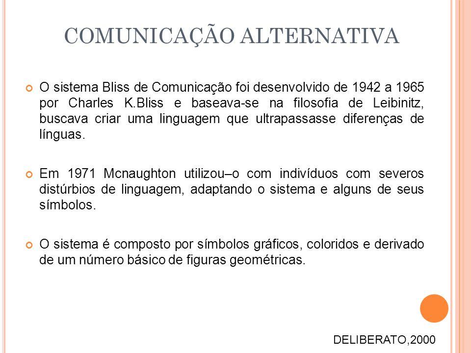 O sistema Bliss de Comunicação foi desenvolvido de 1942 a 1965 por Charles K.Bliss e baseava-se na filosofia de Leibinitz, buscava criar uma linguagem