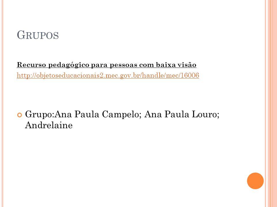 G RUPOS Recurso pedagógico para pessoas com baixa visão http://objetoseducacionais2.mec.gov.br/handle/mec/16006 Grupo:Ana Paula Campelo; Ana Paula Lou