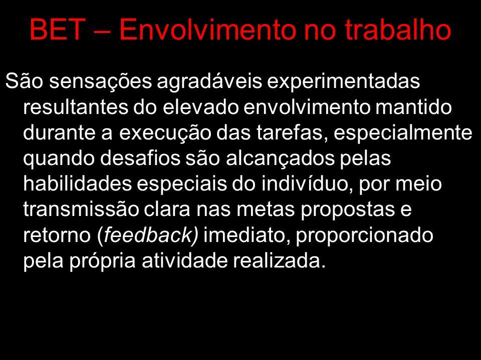 BET – Envolvimento no trabalho São sensações agradáveis experimentadas resultantes do elevado envolvimento mantido durante a execução das tarefas, esp