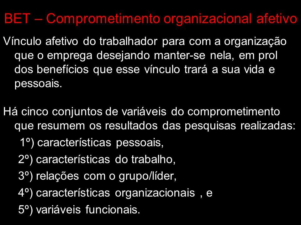 BET – Comprometimento organizacional afetivo Vínculo afetivo do trabalhador para com a organização que o emprega desejando manter-se nela, em prol dos