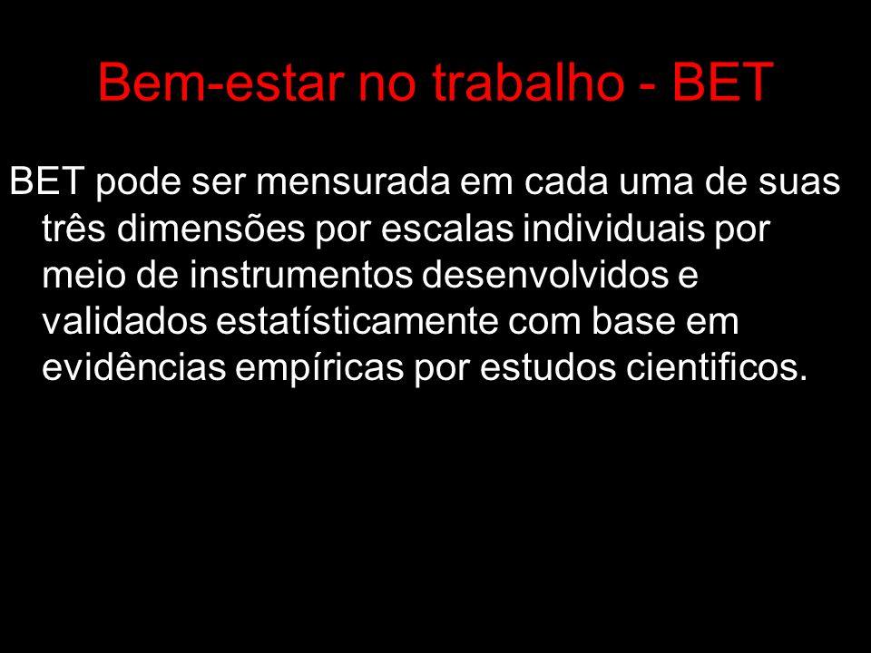 Bem-estar no trabalho - BET BET pode ser mensurada em cada uma de suas três dimensões por escalas individuais por meio de instrumentos desenvolvidos e