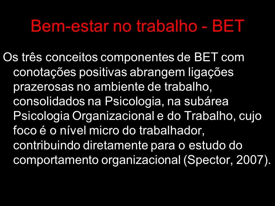 BET – Satisfação com o trabalho Vínculo afetivo positivo estruturado a partir das três grandes categorias de fontes de satisfação: Relacionamento com as pessoas; Retribuições das organizacionais; e Satisfações com as tarefas realizadas.