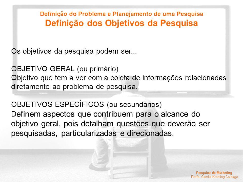 Pesquisa de Marketing Profa. Camila Krohling Colnago Os objetivos da pesquisa podem ser... OBJETIVO GERAL (ou primário) Objetivo que tem a ver com a c