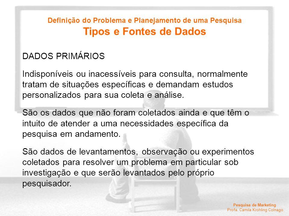 Pesquisa de Marketing Profa. Camila Krohling Colnago DADOS PRIMÁRIOS Indisponíveis ou inacessíveis para consulta, normalmente tratam de situações espe